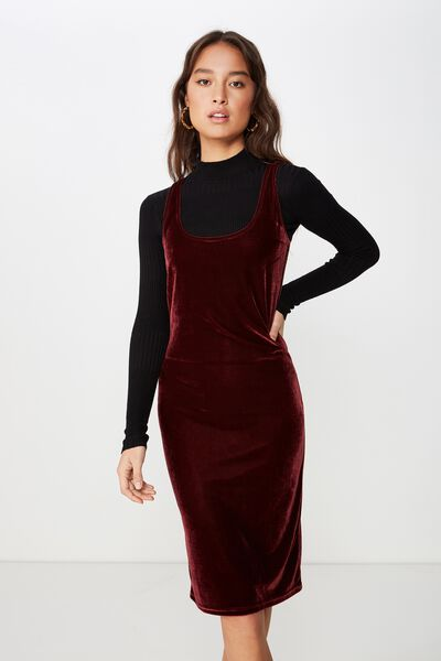 Kylie Scooped Bodycon Dress, CABERNET VELVET