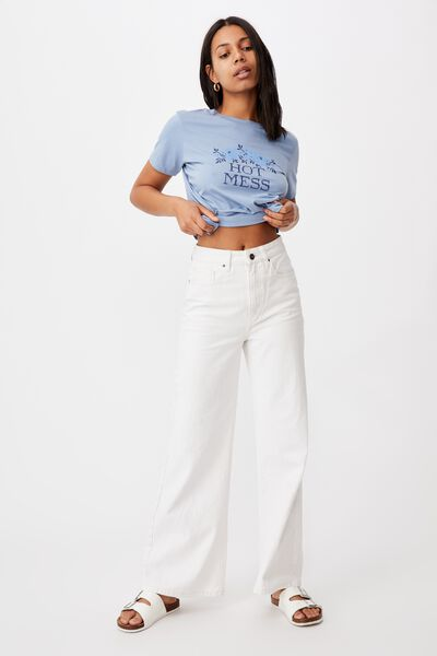Classic Slogan T Shirt, HOT MESS/SKY BLUE