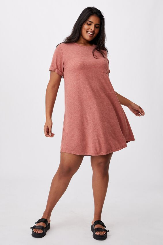 Curve Relaxed Tee Dress, RED TERRACTOTTA MARLE