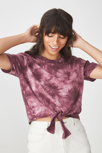 Candy Chopped Tie Front Tee, WINETASTING TIE DYE