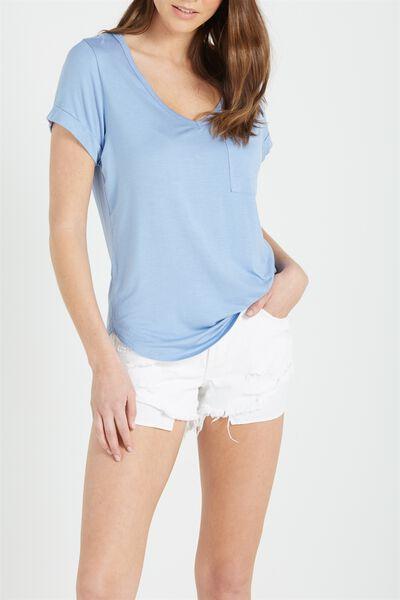 Karly Short Sleeve V Neck Top, LILY BLUE