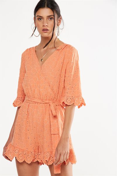 woven elly embroidered romper, SUNBAKED BROIDERIE