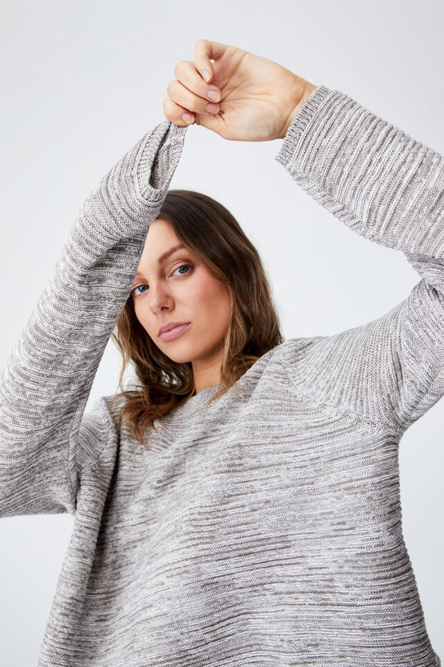 Cotton Cropped Pullover, ASH GREY MARLE WHITE TWIST