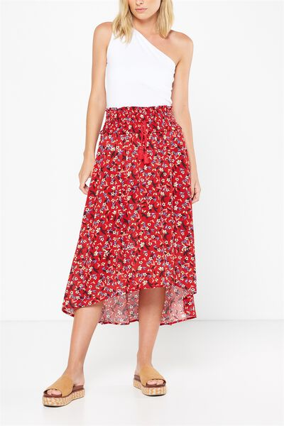 Woven Romy Shirred Maxi Skirt, CASSIDY DITSY FLORAL CHERRY RED
