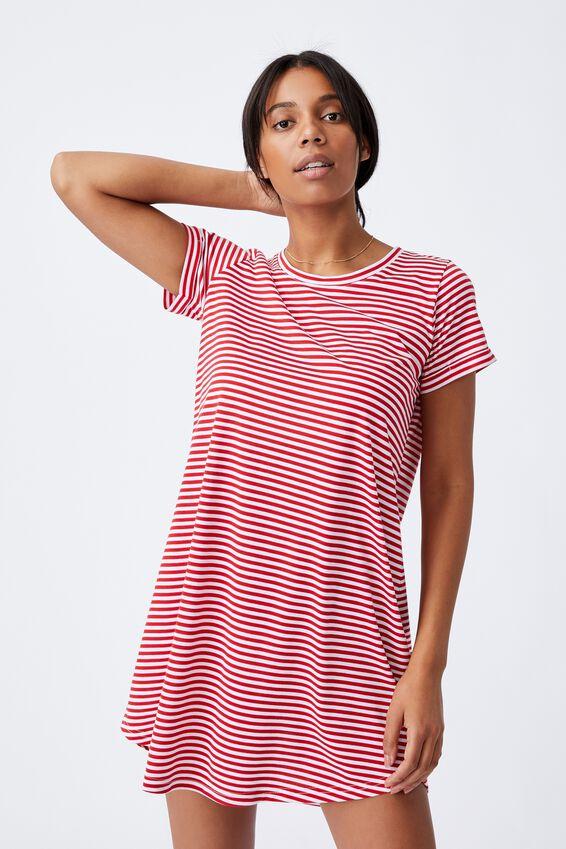 Tina Tshirt Dress 2, ANNA STRIPE LUCKY RED