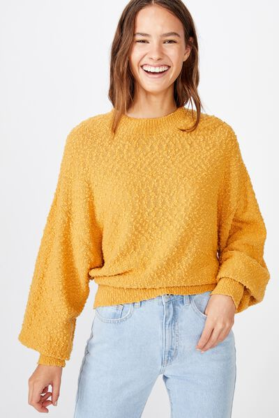 Blousson Textured Pullover, HONEY GOLD