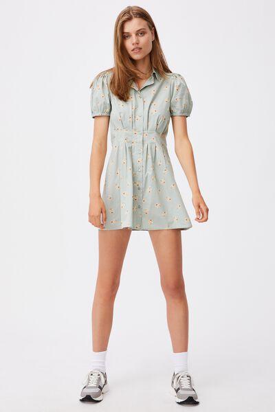 Woven Bambie Button Front Shirt Dress, ARABELLA FLORAL LUSH GREEN MINI