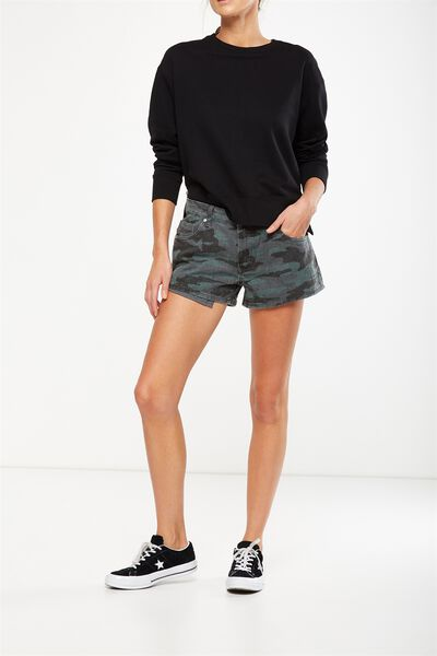 Mid Rise Saturday Denim Short, CAMO CUFFED