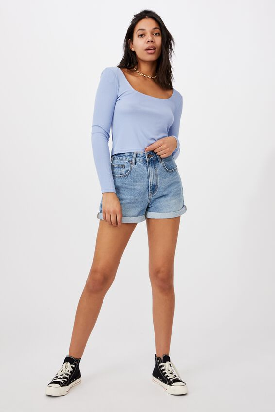 Serena Square Neck Long Sleeve Top, VINTAGE BLUE