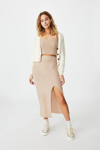 Match Me Knit Midi Skirt, LATTE