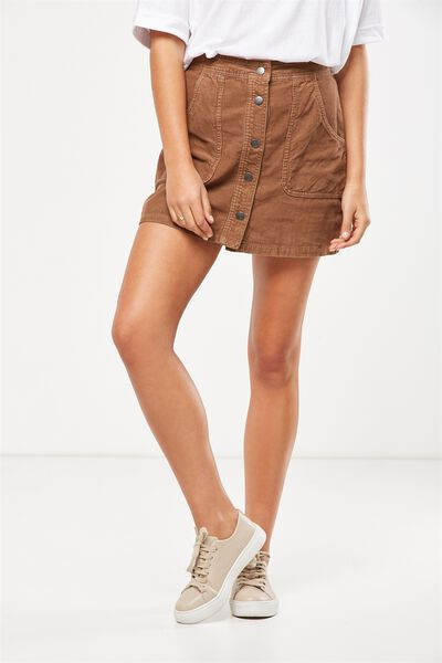 A Line Cord Mini Skirt, TOBACCO