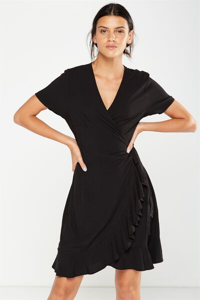 Woven Charli Short Sleeve Wrap Dress, BLACK