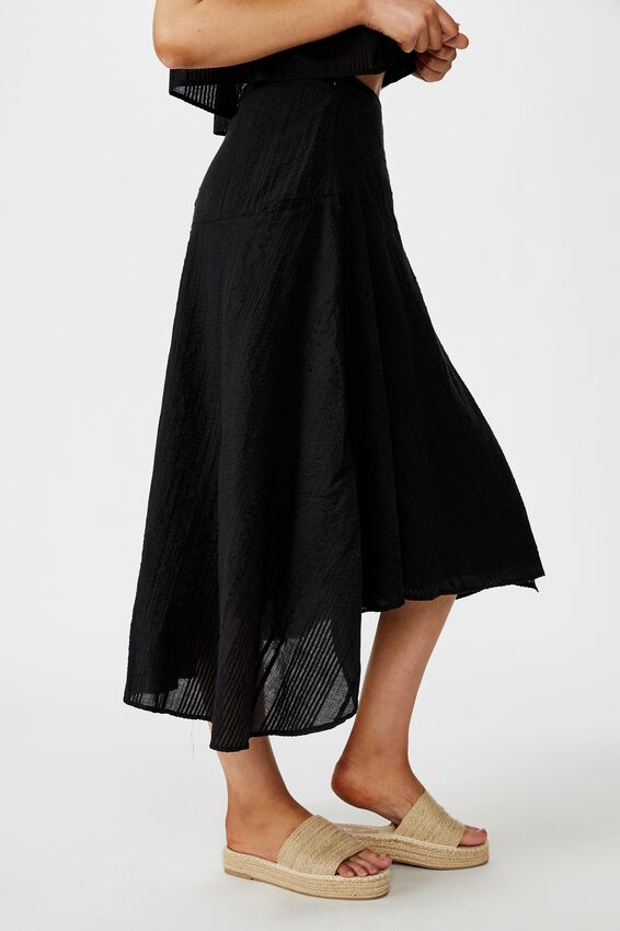 Aubrey Wrap Midi Skirt, BLACK