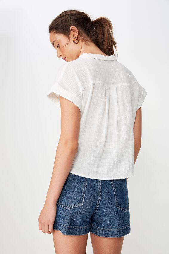 Emily Chopped Short Sleeve Shirt, WHITE TEXTURE