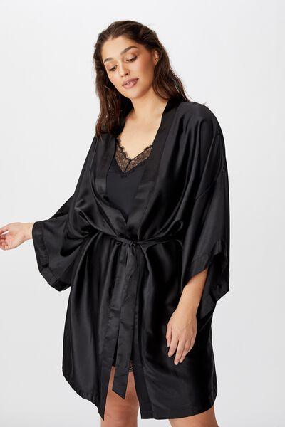 Curve Satin Kimono Gown, BLACK