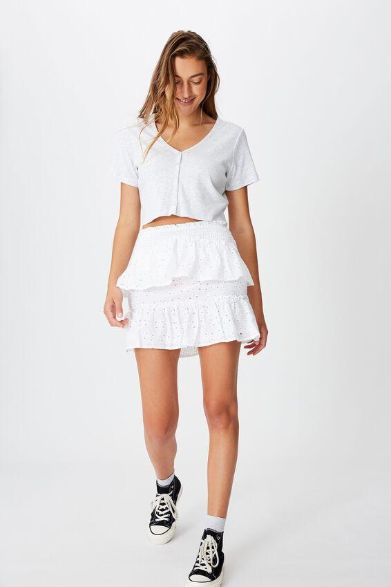 Ellie Broderie Mini Skirt, WHITE
