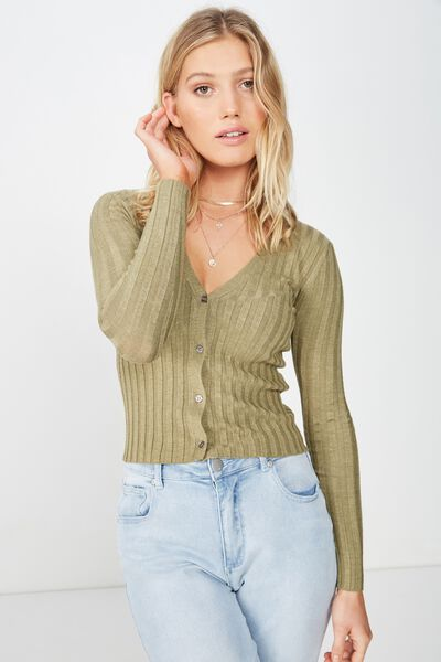 Quinnie Cropped Cardi, LIGHT OLIVE MARLE