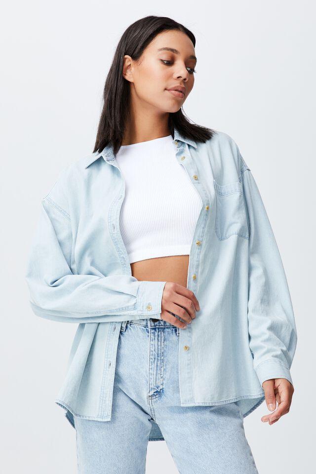 Denim Long Sleeve Shirt, HENLEY LIGHT BLUE