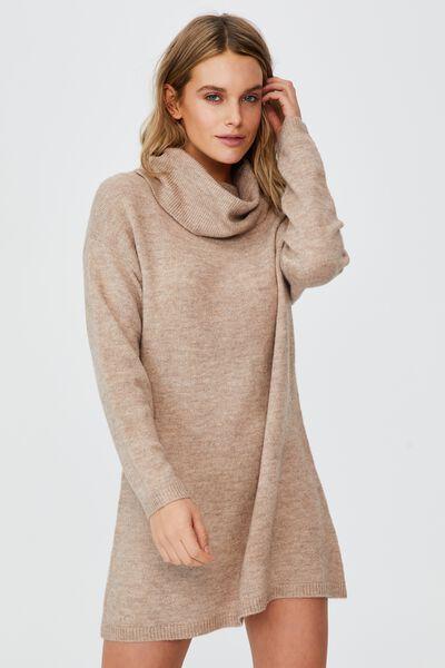 Juliette Roll Neck Knit Mini Dress, NATURAL MARLE