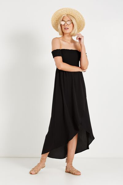 Woven Mazie Off The Shoulder Shirred Maxi Dress, BLACK
