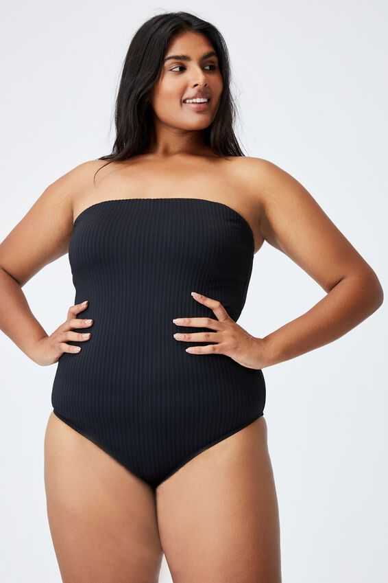 Curve Swim Strapless One Piece, BLACK RIB TEXTURE