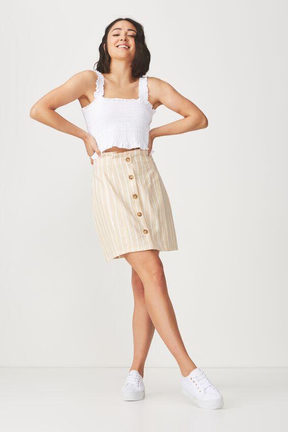 Woven Halle Mini Skirt, KAYLA OAT WHITE