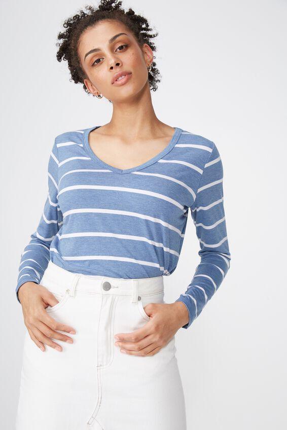 Karly Long Sleeve Top, NINA STRIPE MOONLIGHT MARLE/WHITE