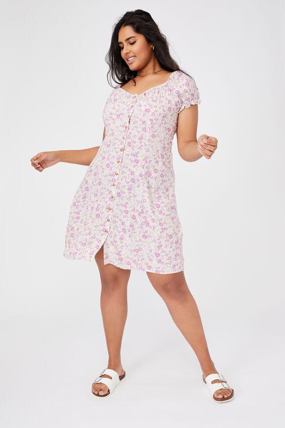 Curve Woven Piper Sweetheart Neckline Mini Dress, ELSIE FLORAL MAGENTA