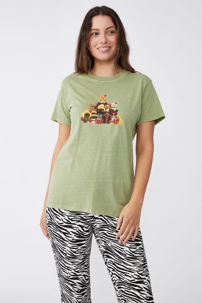 Classic Christmas License T Shirt, LCN KAKAO BEAR & FRIENDS/DUSTY MINT