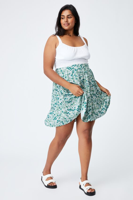 Curve Sky Skater Mini Skirt, WINDSOME DITSY LUSH GREEN