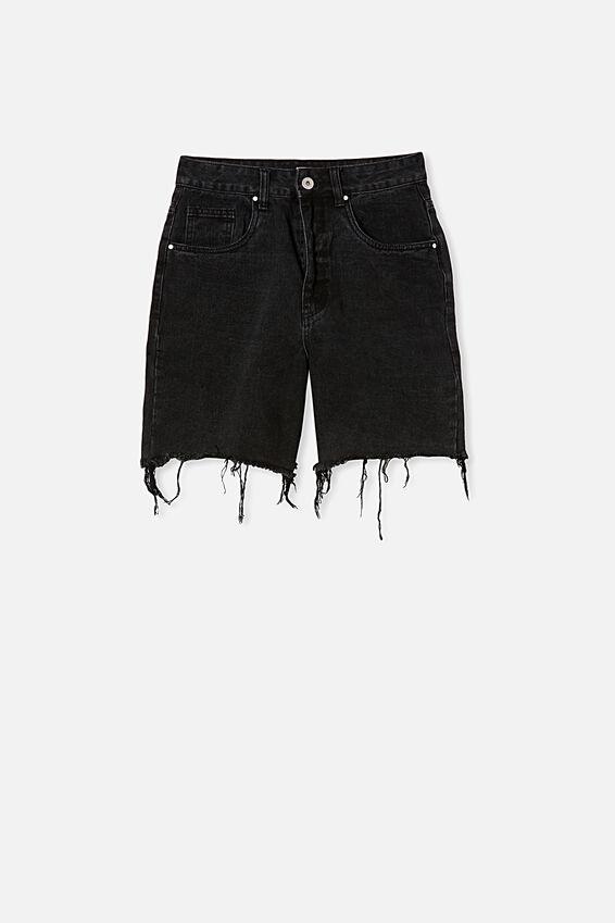 Straight Denim Bermuda Short, MIDNIGHT BLACK