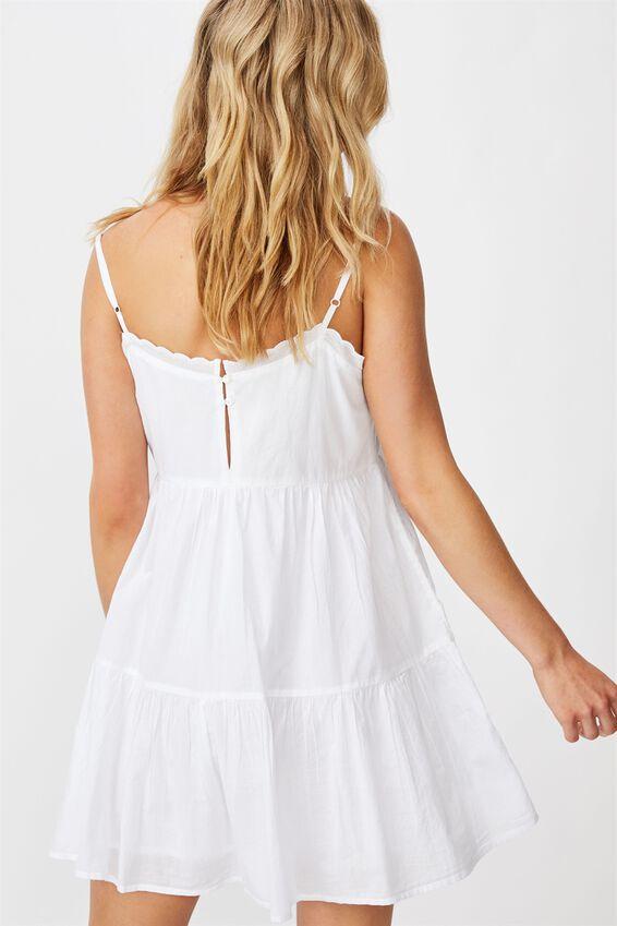 Woven Birdie Tiered Mini Dress, WHITE