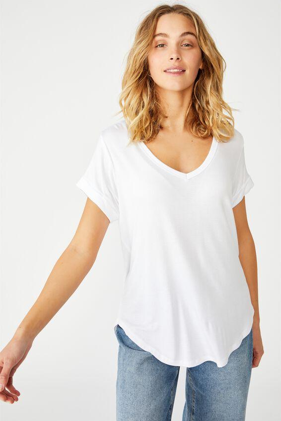Karly Short Sleeve V Neck Top, WHITE 2