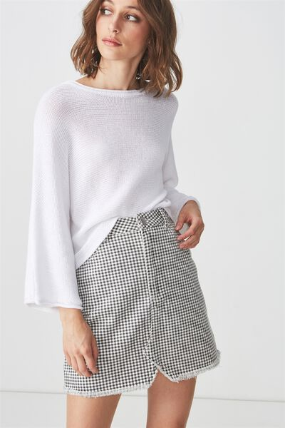 The Re-Made Mini Denim Skirt, GINGHAM