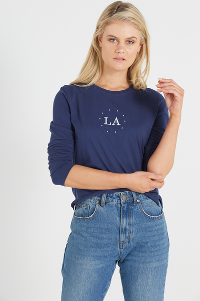 Tbar Long Sleeve Graphic Chop Tee, LA/SPACE NAVY