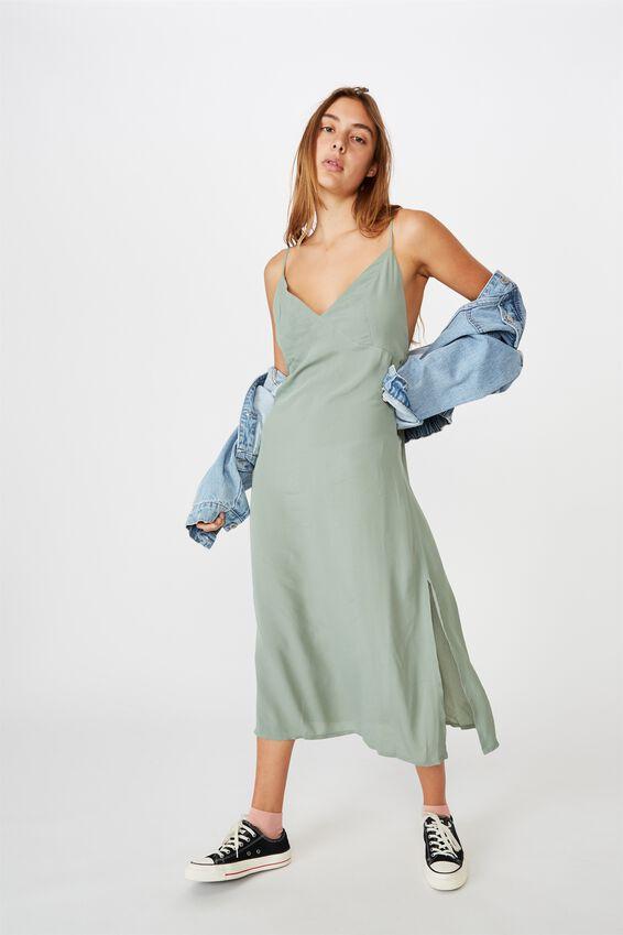 Woven Veronica V Midi Slip Dress, CHINOIS GREEN