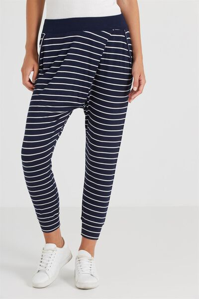 Relaxed Wrap Jersey Pant, JULIE STRIPE MOONLIGHT/WHITE