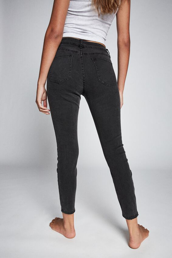 Mid Rise Cropped Skinny Jean, WASHED BLACK RIP KNEE