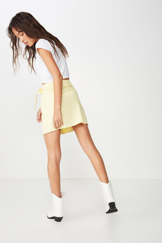 Woven Heidi Wrap Mini Skirt, POPCORN