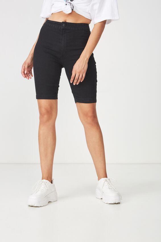High Rise Denim Bike Short, BLACK