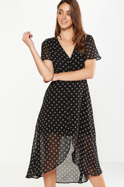 Woven Georgia Short Sleeve Maxi Dress, SASKIA DITSY BLACK