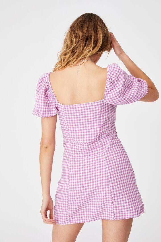 Woven Leona Bell Sleeve Mini Dress, BATHANY GINGHAM MAGENTA