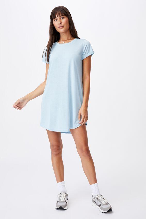Tina Tshirt Dress 2, DAISY BLUE MARLE