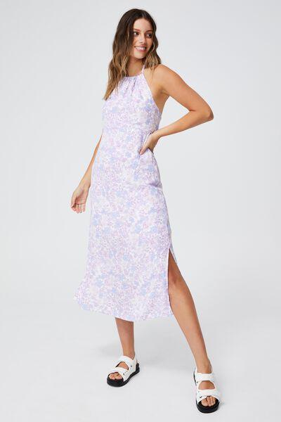 Woven Harper Tie Back Halter Midi Dress, JULIA FLORAL LILAC