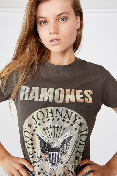 Classic Band T Shirt, LCN MT RAMONES AMERICAN SEAL/SLATE GREY
