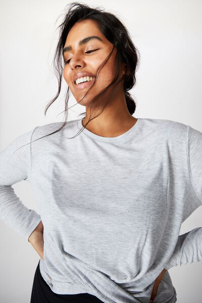 Curve Active Knot Front Long Sleeve Top, GREY MARLE
