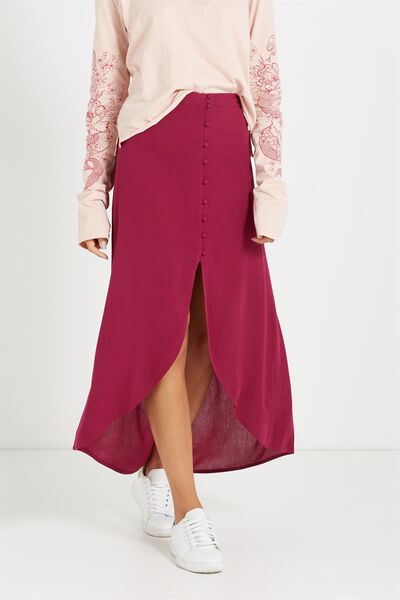 Woven Alfie Maxi Skirt, DARK PLUM