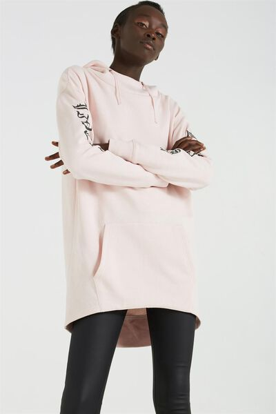 Daphne Longline Hoodie, LIVE FAST/PALE PINK