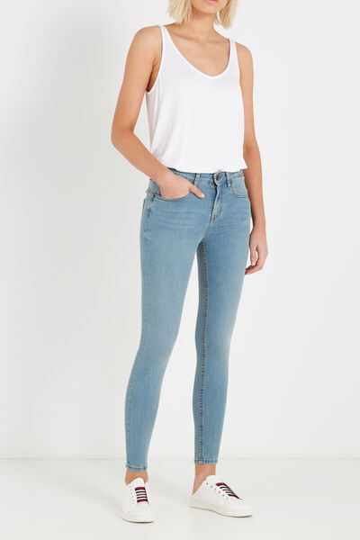 Mid Rise Push Up Skinny Jean, LIGHT WASH