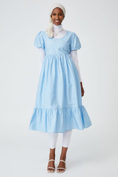 Woven Lange Babydoll Medaxi, AUTHENTIC BLUE